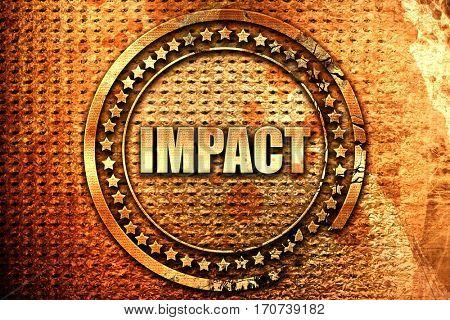 impact, 3D rendering, text on metal