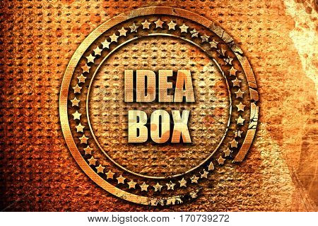 idea box, 3D rendering, text on metal