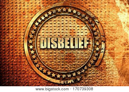 disbelief, 3D rendering, text on metal