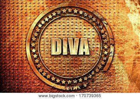 diva, 3D rendering, text on metal