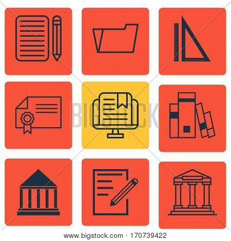 Set Of 9 Education Icons. Includes E-Study, College, Education Center And Other Symbols. Beautiful Design Elements.