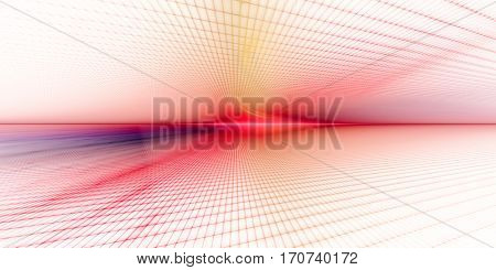 Abstract background element. Grid planes perspective. Retro sci fi style. Time and space concept. Red, violet and yellow colors on white.