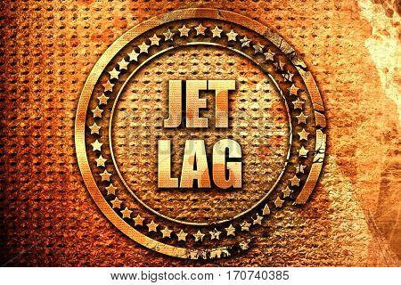 Jet lag, 3D rendering, text on metal