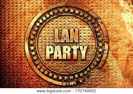 lan party, 3D rendering, text on metal