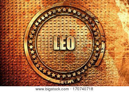 leo, 3D rendering, text on metal