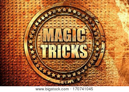 magic tricks, 3D rendering, text on metal