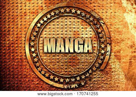 manga, 3D rendering, text on metal