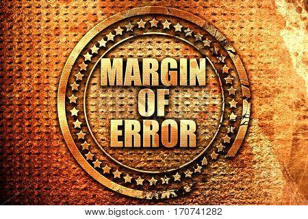margin of error, 3D rendering, text on metal