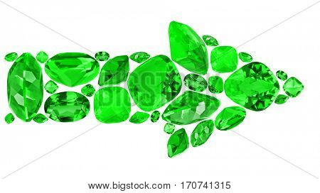 arrow from green emerald gems isolated on white background