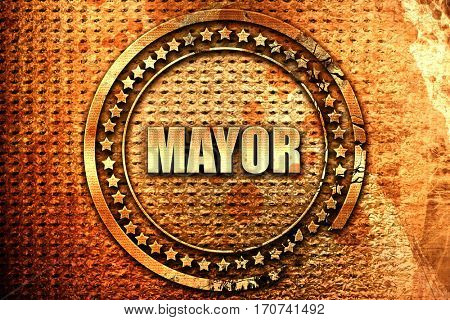 mayor, 3D rendering, text on metal