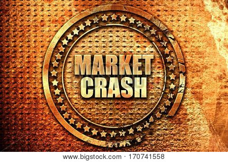market crash, 3D rendering, text on metal