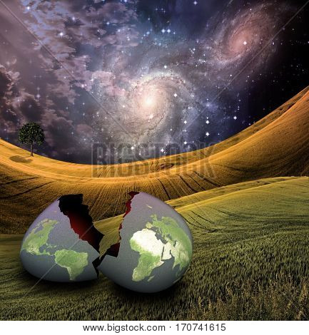 Earth egg is hatched  3D Render  Some elements provided courtesy of NASA