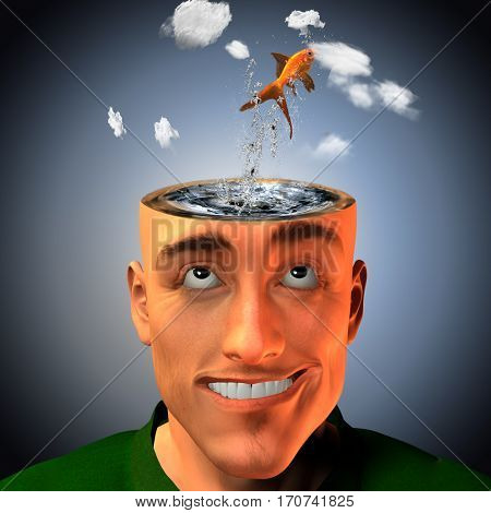 Man with head in clouds and water with fish  3D Render