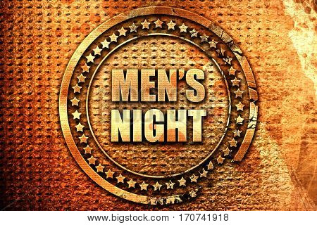 mens night, 3D rendering, text on metal