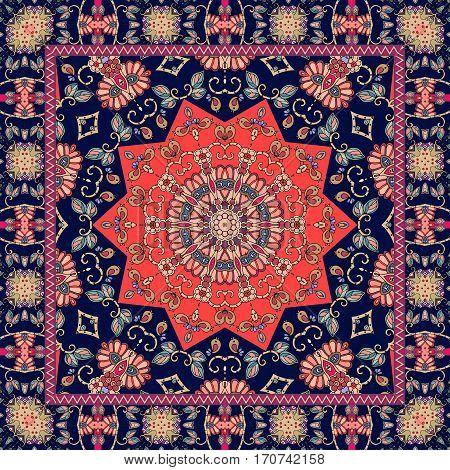 Indian rug. Colorful vector illustration. Decorative ornament.