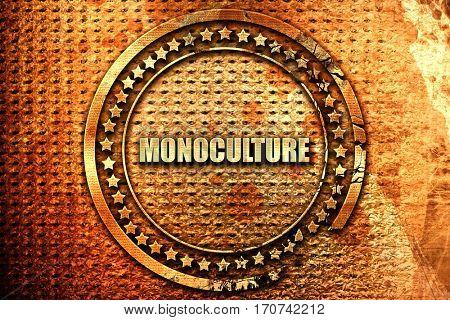 monoculture, 3D rendering, text on metal