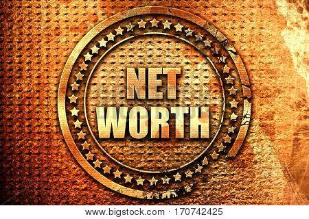 net worth, 3D rendering, text on metal