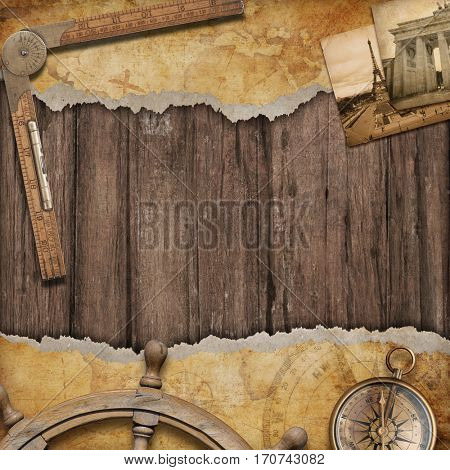 Old map background with compass. Adventure or discovery 3D illustration