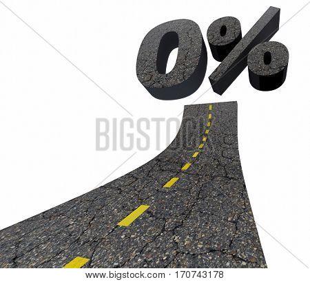 Zero 0 Percent Interest Rate Lowest Number Road 3d Illustration