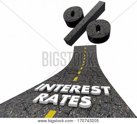 Interest Rates Percent Sign Road Higher Lower 3d Illustration