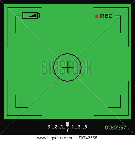 Camera viewfinder. Template focusing screen of the camera. Video screen