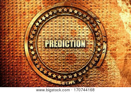 prediction, 3D rendering, text on metal
