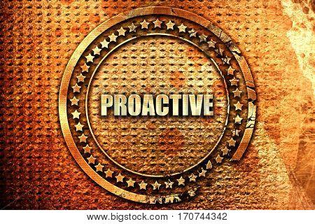 proactive, 3D rendering, text on metal