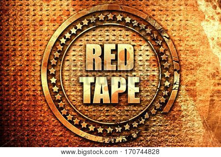 red tape, 3D rendering, text on metal