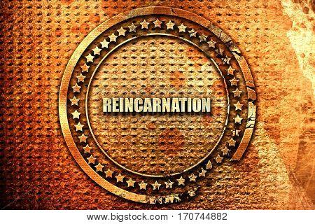 reincarnation, 3D rendering, text on metal