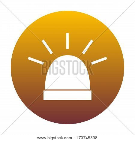 Police single sign. White icon in circle with golden gradient as background. Isolated.