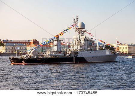 ST. PETERSBURG RUSSIA - JULY 31 2016: Russian navy. Small anti-submarine ship