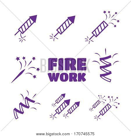 Firework set vector illustration. Firework icons set. Firework vector