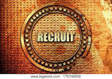 recruit, 3D rendering, text on metal
