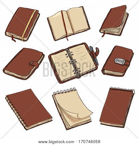 Vector Set Of Cartoon Notebooks, Notepads And Diaries