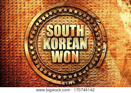 south korean won, 3D rendering, text on metal