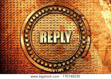 reply, 3D rendering, text on metal