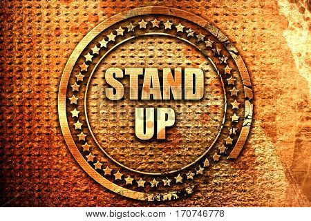 stand up, 3D rendering, text on metal
