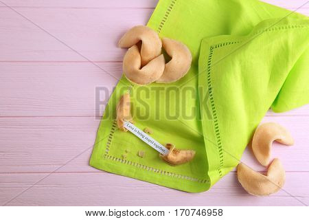 Fortune cookies  on wooden background