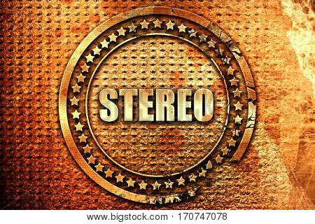 stereo, 3D rendering, text on metal