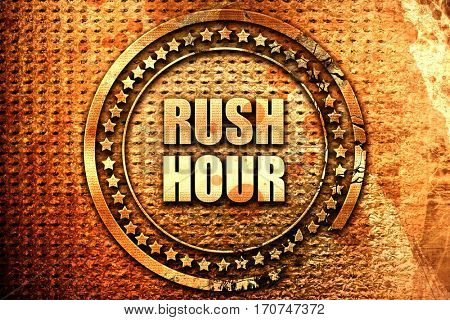 rush hour, 3D rendering, text on metal