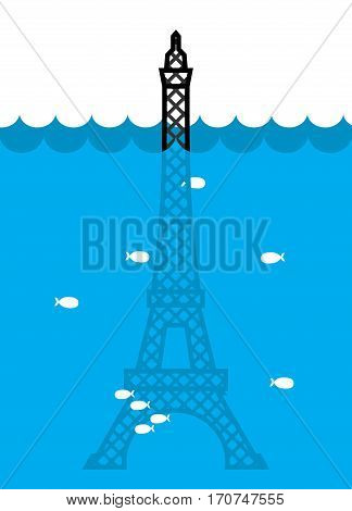 Eiffel Tower Flood. Deluge In Paris. Plenty Of Water And Fish. Disaster