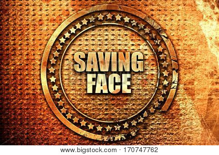 saving face, 3D rendering, text on metal
