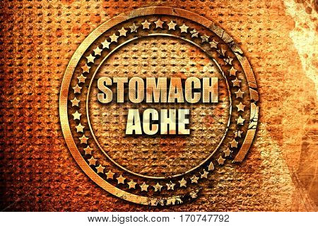 stomach ache, 3D rendering, text on metal