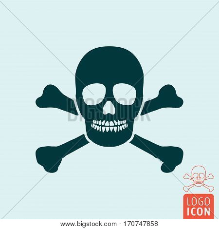 Jolly roger icon. Skull and crossbones pirate symbol. Vector illustration.