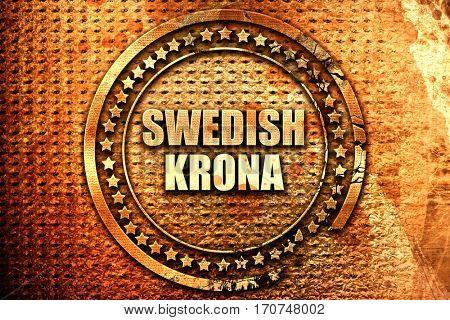 Swedish krona, 3D rendering, text on metal