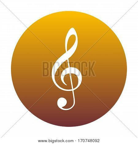 Music violin clef sign. G-clef. Treble clef. White icon in circle with golden gradient as background. Isolated.