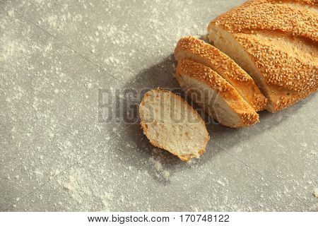 Top view of sliced wheaten bread, closeup
