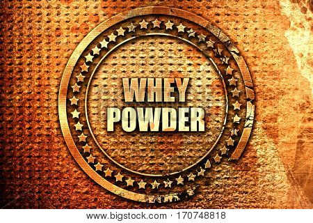 whey powder, 3D rendering, text on metal