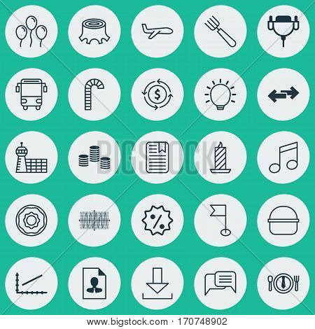 Set Of 25 Universal Editable Icons. Can Be Used For Web, Mobile And App Design. Includes Elements Such As Line Graph, Doughnut, Fire Wax And More.