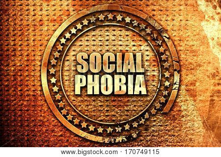 social phobia, 3D rendering, text on metal